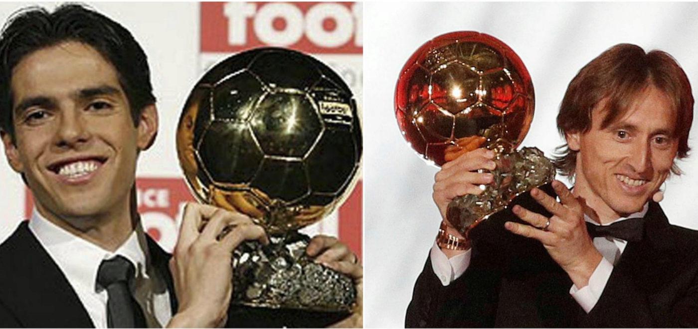 Kaká con el Balón de Oro de 2007 (izquierda); Modric, con el de 2018...