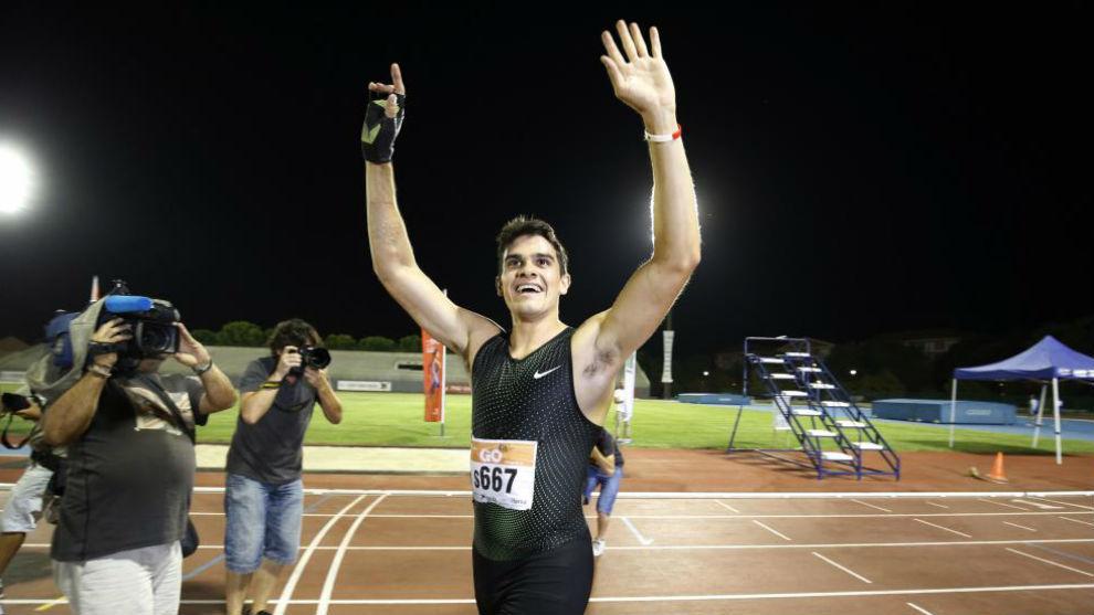 Hortelano, tras correr los 200 metros en Getafe.