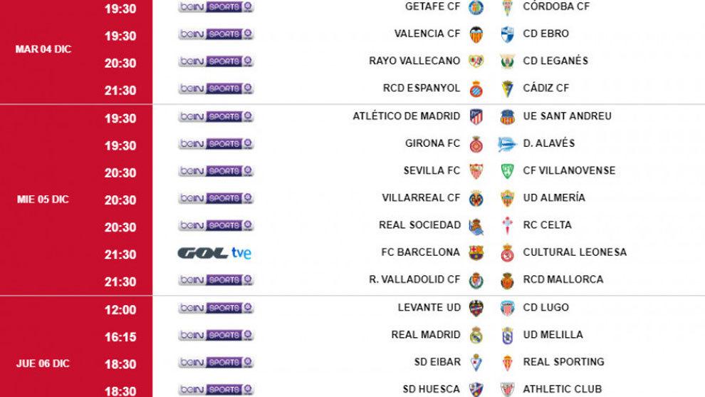 Donosti Cup Calendario Partidos.Calendario Copa Del Rey Horarios Y Donde Ver En Tv Los