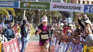 Mónica Vives, en la meta del Campeonato de España de trail de...