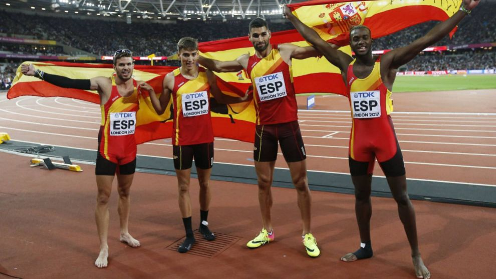 El 4x400 español, en la final en Londres 2017.