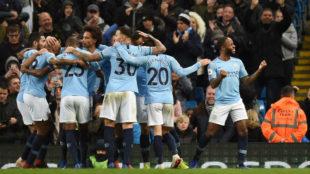 Los jugadores del City, celebrando un gol.