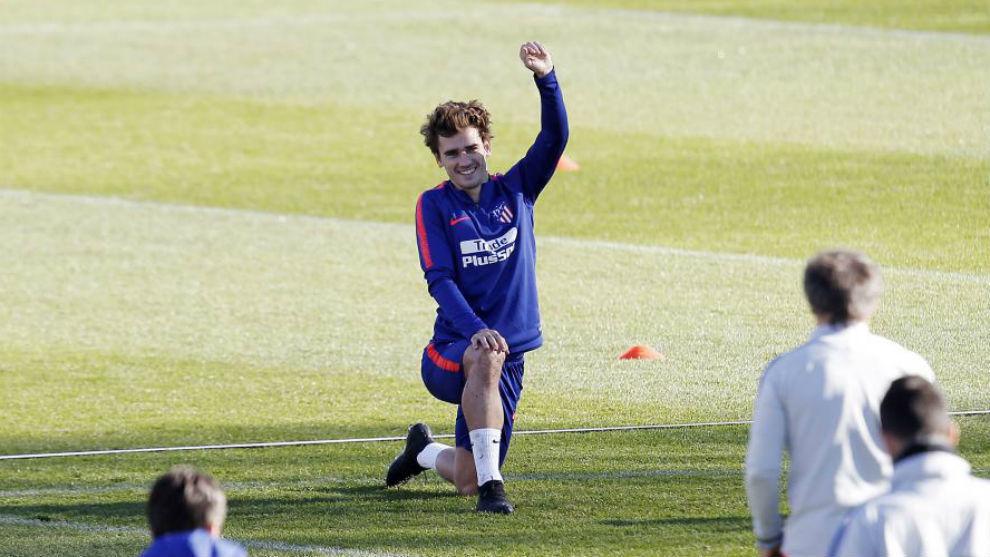 Griezmann, en el entrenamiento de este martes.