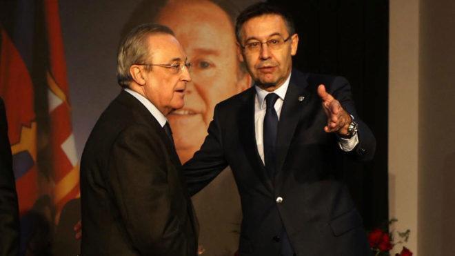 Florentino Pérez y Josep Maria Bartomeu en el Memorial Josep Lluís