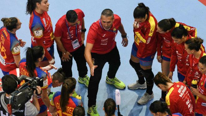 La selección española en un tiempo muerto