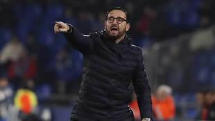 Bordalás da una indicación en el partido ante el Córdoba.