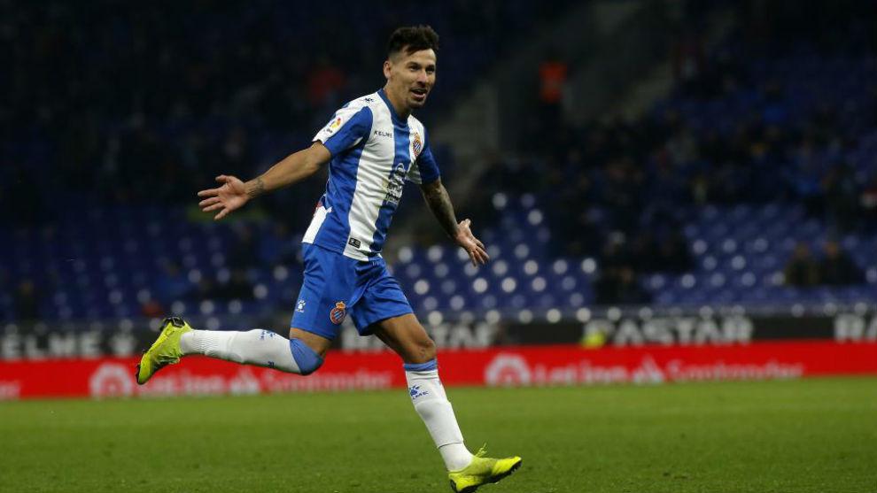 Hernán Pérez celebra el gol contra el Cádiz