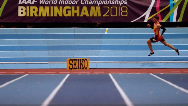 Óscar Husillos, durante la final del Mundial 'indoor' de Birmingham