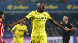 Ekambi celebra uno de sus cuatro goles al Almería.