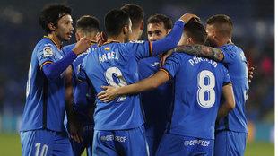 Los jugadores del Getafe celebrando un gol.
