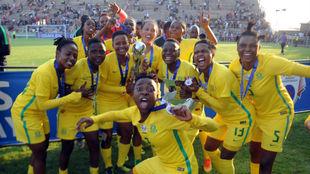 Las jugadoras de Sudáfrica durante la Copa África 2018.