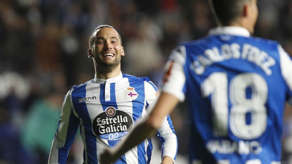 Quique González celebra uno de los goles marcados