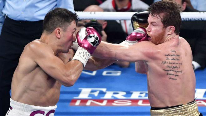 Golovkin y Canelo durante su segundo enfrentamiento.