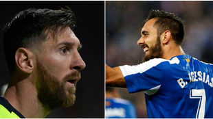 Leo Messi (izquierda) y Borja Iglesias (derecha), referentes del...