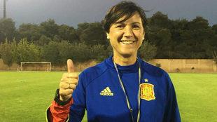 Toña Is tras un entrenamiento de la Selección Española.