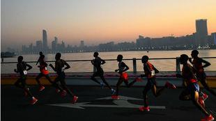 Varios atletas, durante el maratón de Abu Dhabi