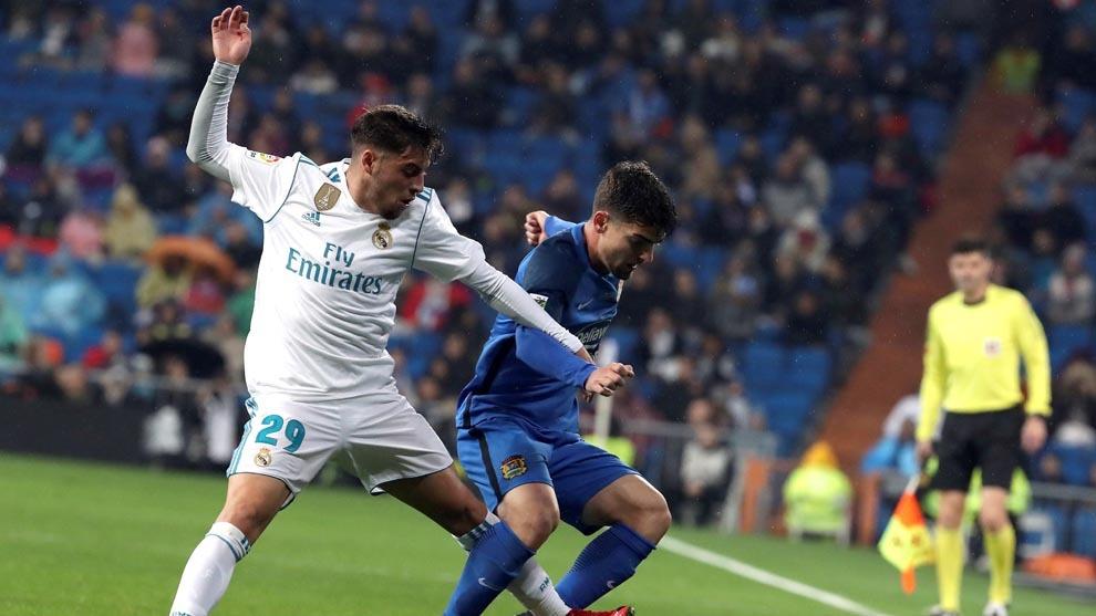 Franchu, el día de se debut con el primer equipo en el Bernabéu.
