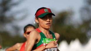 Lupita González durante la prueba de 20 km en Río 2016