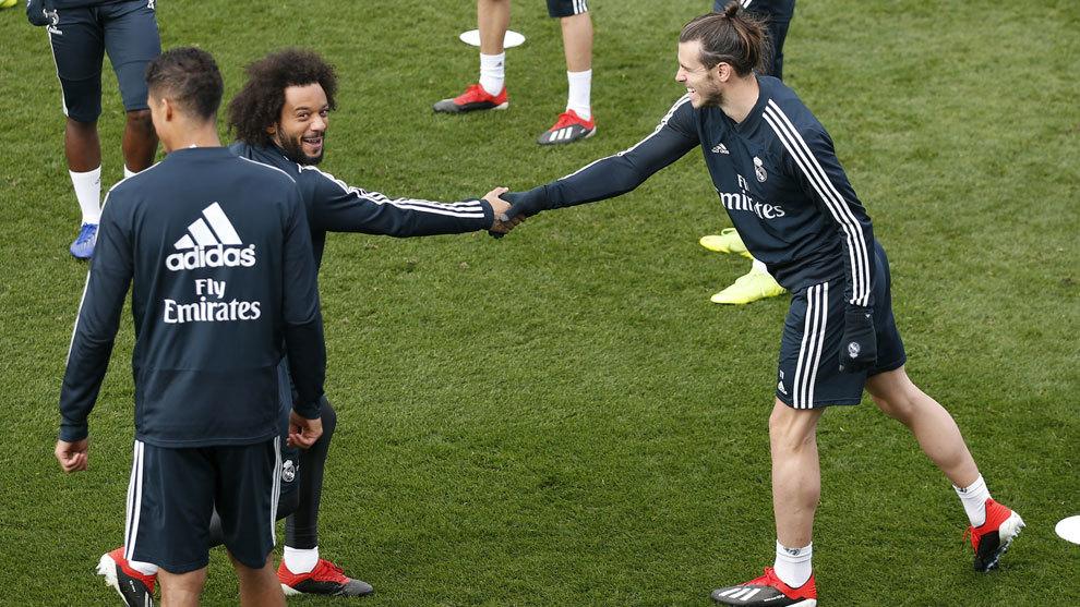 Bale y Marcelo en un entrenamiento del Real Madrid.