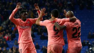 Ousmane Dembele, Luis Suarez and Arturo Vidal