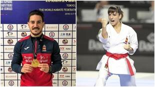 Damián Quintero, con el oro en Shangai; y Sandra Sánchez.