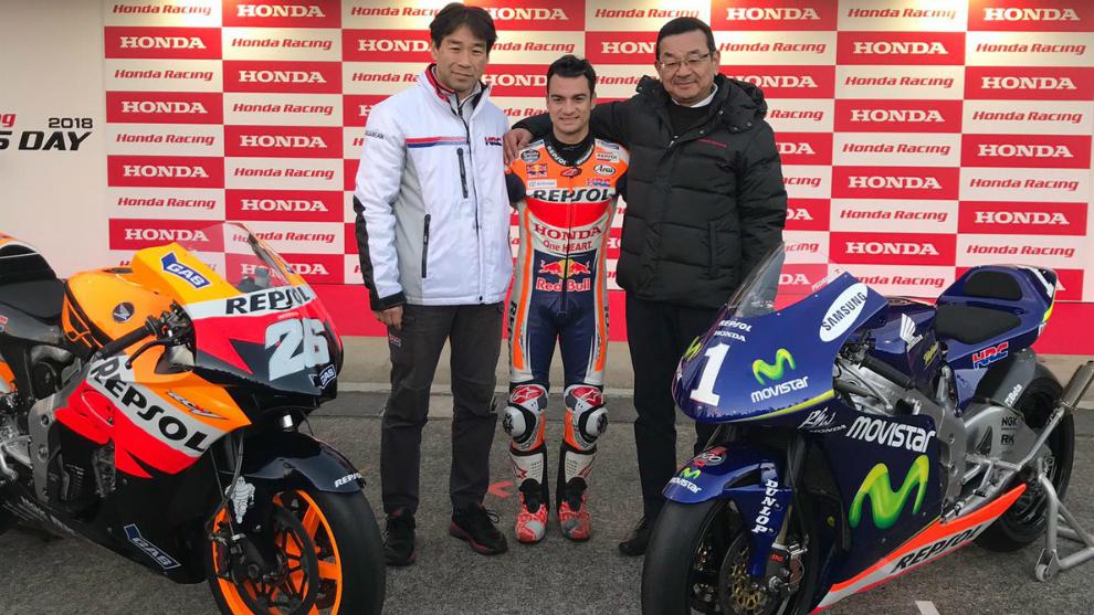 Tetsuhiro Kuwata, Dani Pedrosa y Takahiro Hachigo.