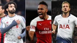 Salah, Aubameyang y Kane celebran sus goles.