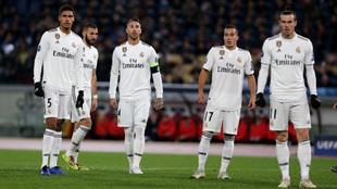 Varane, Benzema, Ramos, Lucas y Bale, en un partido de Champions