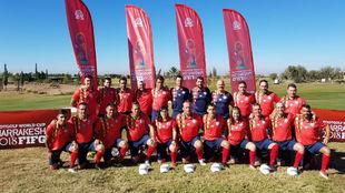 La selección española posa en Marrakech.