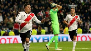 Así celebró Quintero el 2-1 ante Boca.