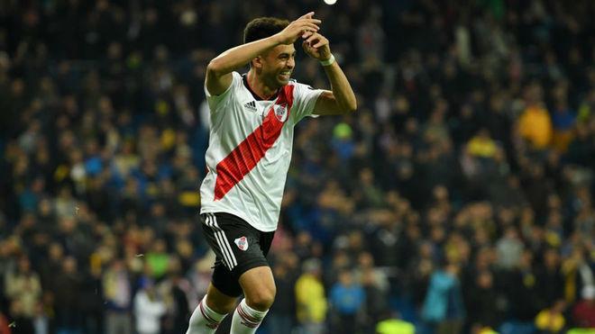Pity celebra el 3-1 ante Boca.