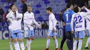 Pombo se lamenta al final del partido ante el Córdoba