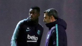 Ousmane Dembele and Ernesto Valverde