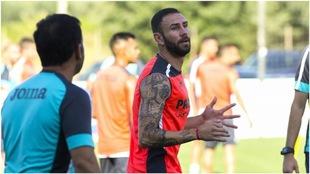 Layún, en un entrenamiento con el Villarreal.