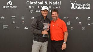 Rafa Nadal y José María Olazabal, durante la edición de 2017.