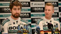 Peter Sagan y Pascal Ackermann, en la rueda de prensa durante la...