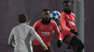 Semedo and Dembele attend a training session at the Joan Gamper Sports...