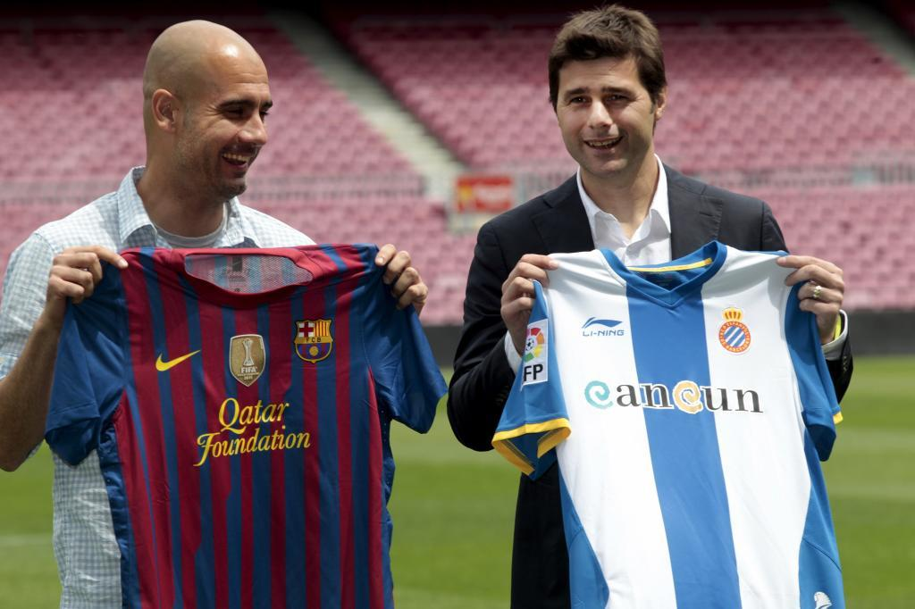 Guardiola y Pochettino cuando eran técnicos del Barcelona y del...