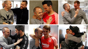 Iniesta pays his former Barcelona teammates a visit