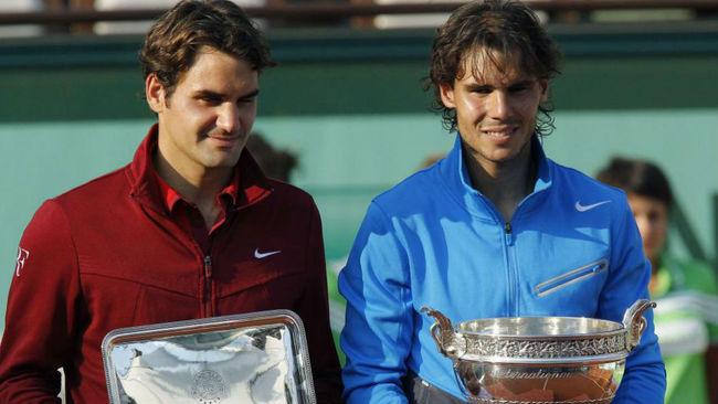 Federer y Nadal, en la ceremonia de Roland Garros 2011