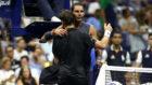 Ferrer se abraza a Nadal en el US Open
