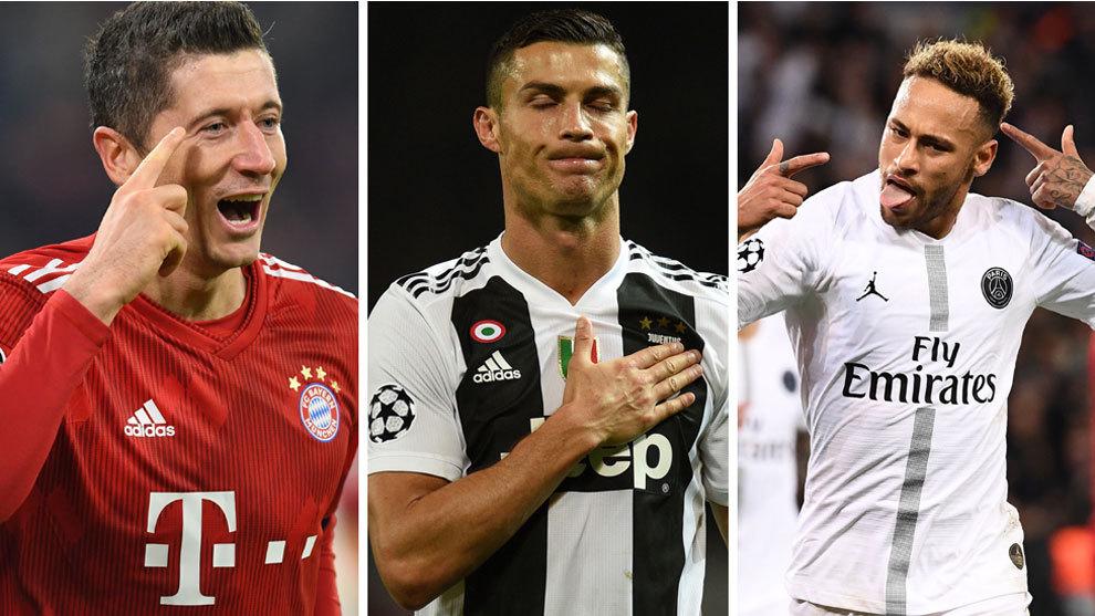 Cristiano Ronaldo, Neymar y Lewandoski con la Champions en juego