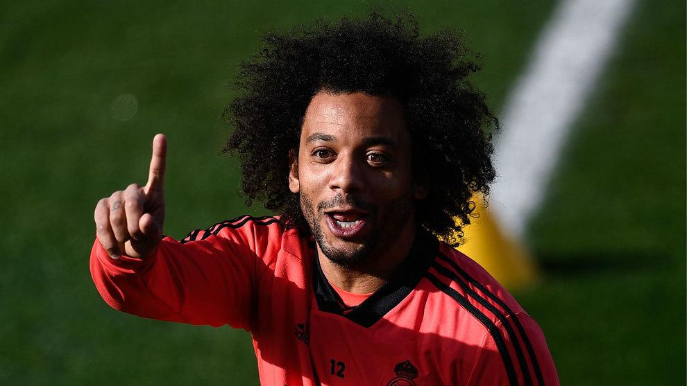 Marcelo durante el entrenamiento de este martes con el Real Madrid.