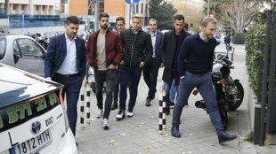 Los jugadores del Reus, a su entrada a LaLiga.