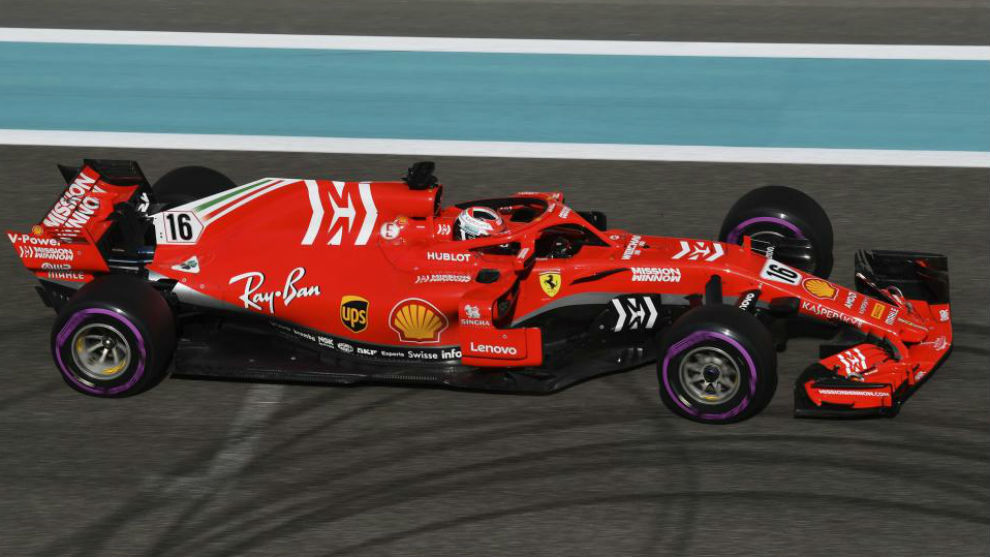 Vettel, con el Ferrari de 2018 en Abu Dabi.