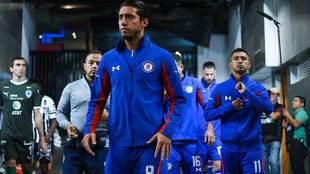 Jugadores de Cruz Azul previo a la semifinal de vuelta ante Rayados.