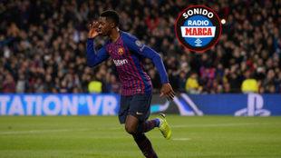 Dembelé celebra el 1-0.