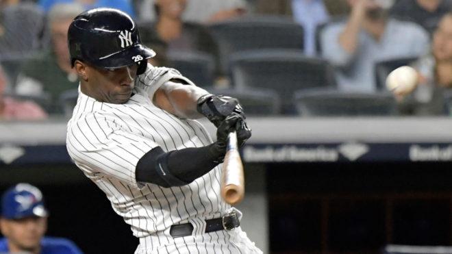 Andrew McCutchen durante un partido de los Yankees de NY