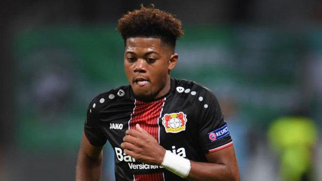 Bayer Leverkusen's Jamaican midfielder Leon Bailey