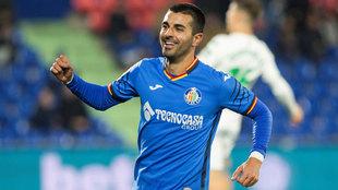 Ángel Rodríguez celebra un gol con el Getafe esta temporada.